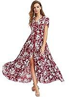 Milumia Women's Button up Split Floral Print Flowy Party Maxi Dress Medium Red_White