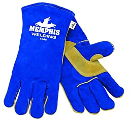 MCR Safety 4500S 13-Inch Memphis Split Cow Leather Welder Men\'s Gloves with Self Hemmed Cuff, Blue, Small, 1-Pair