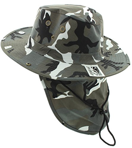 JFH GROUP Wide Brim Unisex Safari/Outback Summer Hat w/Neck Flap (Small, City Camo Solid)