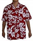 Men's Hibiscus Flower Classic Hawaiian Shirt (2XL, RED)