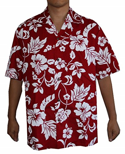 Flower Red Shirts (Alohawears Clothing Company Men's Hibiscus Flower Classic Hawaiian Shirt (L, Red))