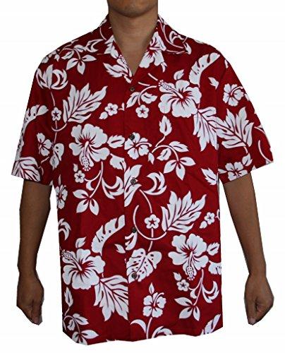 Flower Shirts Red (Alohawears Clothing Company Men's Hibiscus Flower Classic Hawaiian Shirt (L, Red))