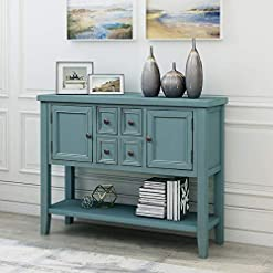 Farmhouse Buffet Sideboards LUMISOL Farmhouse Sideboards and Buffet with Storage Console Table with Two Cabinets and Bottom Shelf (Dark Blue) farmhouse buffet sideboards