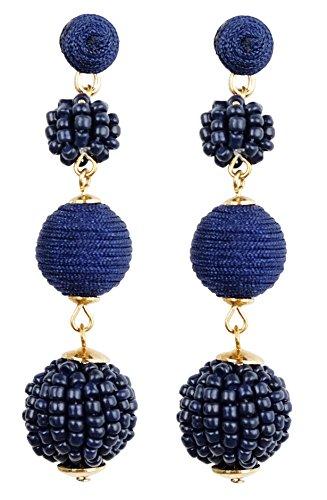 Bee Wee Jewelry Sydney Bead and Thread Ball Drop Earrings - Bon Bon Beaded Woven Silky Triple Thread Ball Seed Bead Dangle Bubble Boho Bohemian Ear Drop Soriee Statement Dangles (Navy Blue)