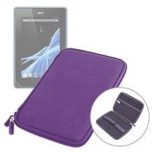 Etui coque violet résistant et rigide pour tablette Acer Giordano B1-A71, Logicom TabLife 70 et Lenco CoolTab 70 7 pouces- fermeture éclair