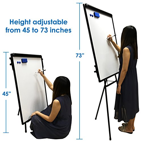 Whiteboard Easel / Flipchart Set - Tripod White Dry Erase Board 40 x 28'' + 1 Magnetic Dry Eraser, 4 Dry-erase Colorful Marker Pens, 2 Magnets and 23 x 32'' Flip Chart Paper Pad Pack 25 pcs by Navy Penguin (Image #1)