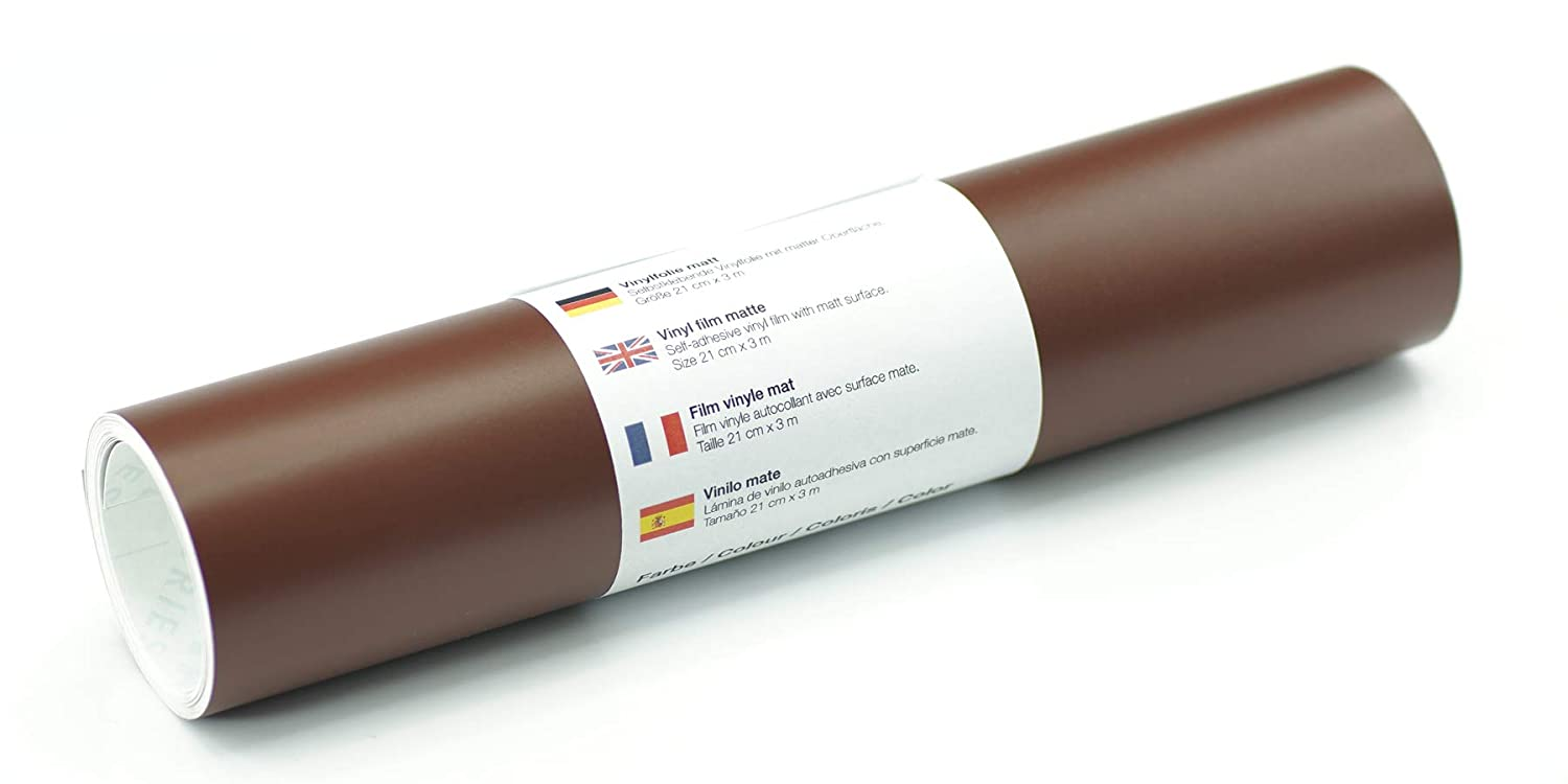Self-Adhesive Vinyl Film with matt Surface. Size 21 cm x 3 m (Brown)