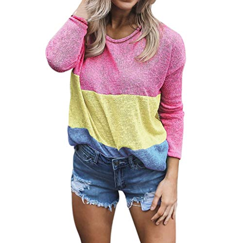 - TANLANG Tops for Women Long Sleeve Color Matching Round Neck Pullover Top Loose Hem Fashion Regular Broadcloth Tunic Blouse Hot Pink