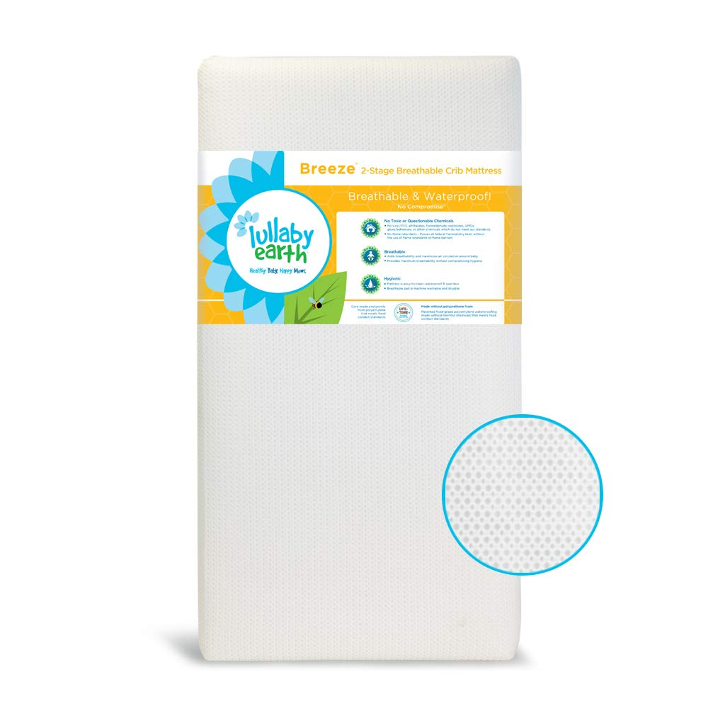 LULLABY EARTH Breeze Crib Mattress 2-Stage | 100% Breathable Surface, Removable Washable Protector Built-in | Fits Baby Toddler Bed - White by Lullaby Earth