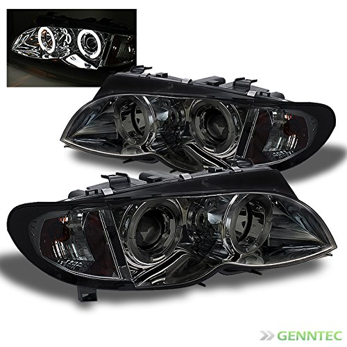 Xtune Smoked 2002-2005 BMW E46 4Dr Sedan Dual Halo Projector Headlights Lamps L+R Pair Left+Right 2003 2004
