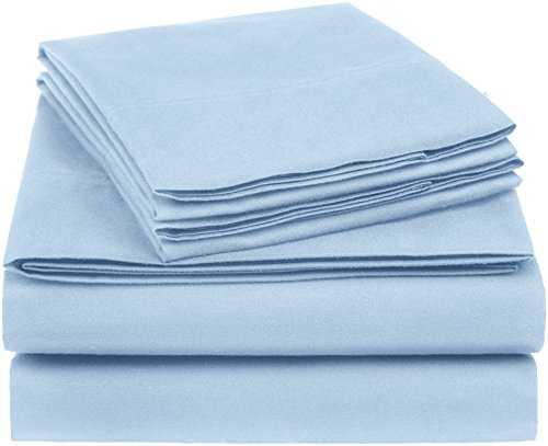 Microfiber Blend - AmazonBasics Essential Cotton Blend Sheet Set -Queen, Smoke Blue
