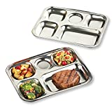 Oven-safe Stainless Steel Divided Plates - Set of 2, Rectangle