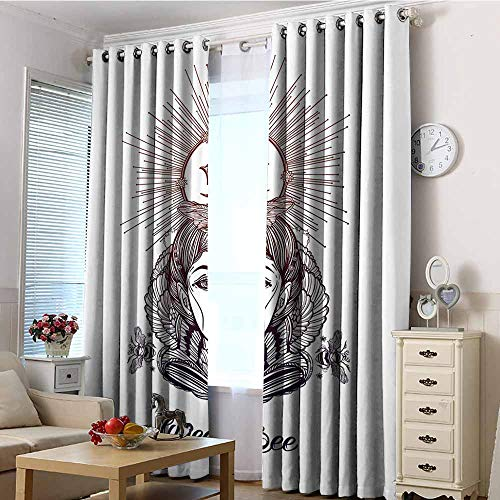 EwaskyOnline Extra Wide Curtain,Queen Bee Hand Drawn Fantastical Woman Silhouette with Crown Motif Royal Occult Elements,Room Darkening, Noise Reducing,W108x72L Sephia Black