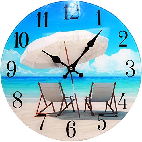 Beach Chair Glass Wall Clock New-13-X-13--Home-Wall-Decor-Coastal-Nautical-Beach