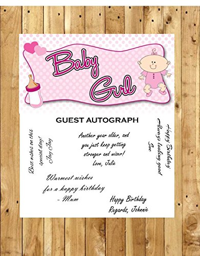 Baby Girl Baby Shower Guest Sign-in Autograph For Keepsake Removable Poster