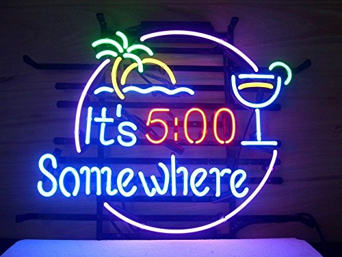 New It's 5 O'clock Somewhere Real Glass Neon Light Sign Home Beer Bar Pub Recreation Room Game Room Windows Garage Wall Sign V50 18x15 Inches by NeonLightSign