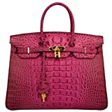Ainifeel Women's Crocodile Embossed Office Handbag Top Handle Handbag (30 cm, Black hot pink)