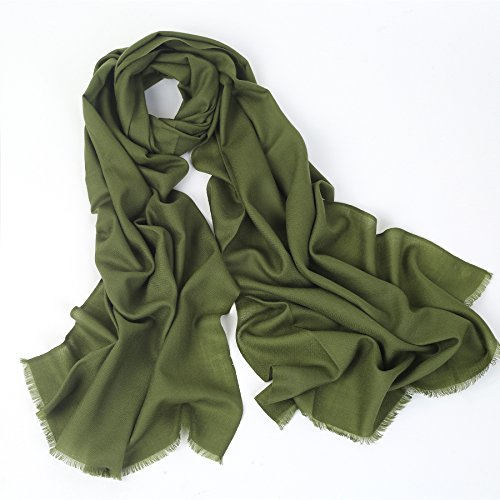 (100% Cashmere Wool Ultra Thin Soft Warm Long Scarf Shawl Scarves Wrap/Gift Box JAKY Global(Olive Green))