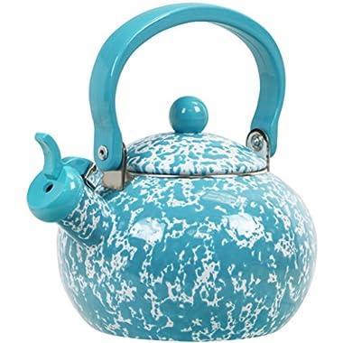 Calypso Basics Whistling Marble Teakettle, 2 quart, Turquoise