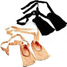 Open Toe Yoga Socks, Ladies Ballet Dance tie Rope Socks, Floor Non-Slip Toe Socks 2 Colors 2 Pairs/Bag Fyxd