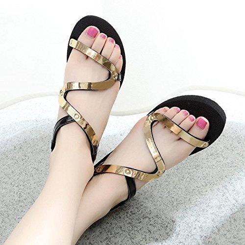 Xing Lin Sandalias De Mujer Verano Con Sandalias Planas Nuevas Alumnas Zapatos Zapatos Antideslizantes Calzado Casual Gold
