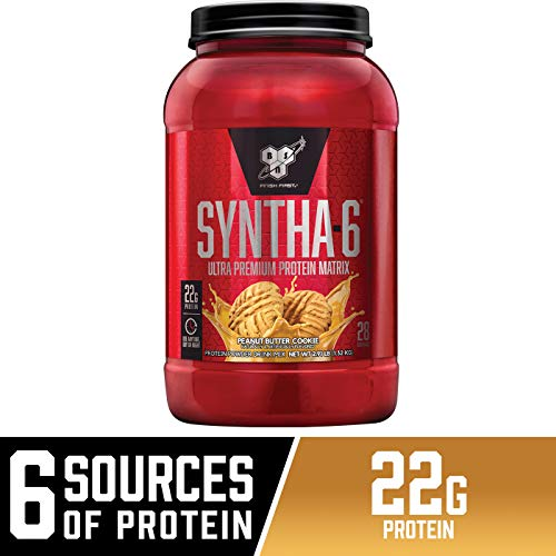 BSN SYNTHA-6 Whey Protein Powder, Micellar Casein, Milk Protein Isolate Powder, Peanut Butter Cookie, 28 Servings (Package May Vary)