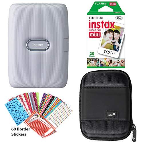 Fujifilm Instax Mini Link Smartphone Printer (Ash White), Instant Film 20 Sheet Pack, 60 Border Stickers and Carrying Case