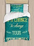 Ambesonne Lifestyle Duvet Cover Set Twin Size, Every Day is a Chance to Change Your Opportunities Quote Retro Poster Print, Decorative 2 Piece Bedding Set with 1 Pillow Sham, Jade Green Tan