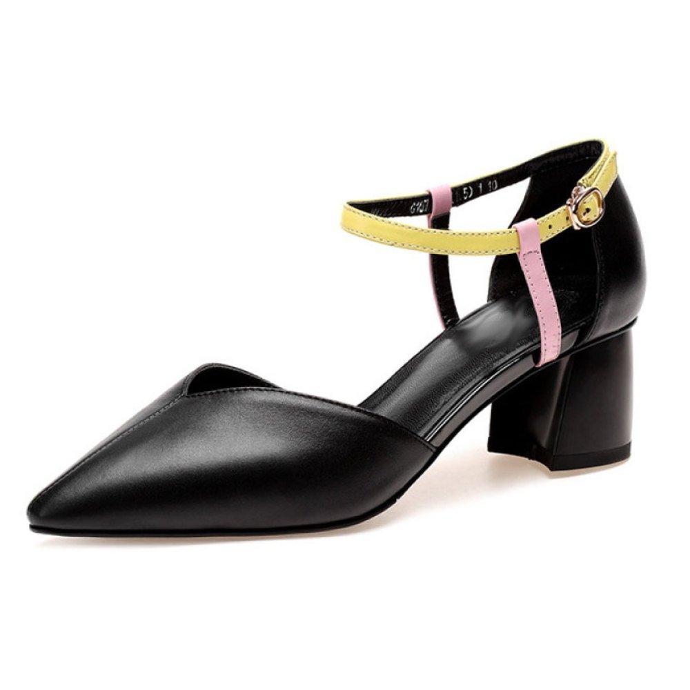 DKFJKI Damen Dick mit Hohle Sandalen Mittlere Schnalle mit Echtem Leder Schuhe Dame Mode Kleid  38 EU|Black