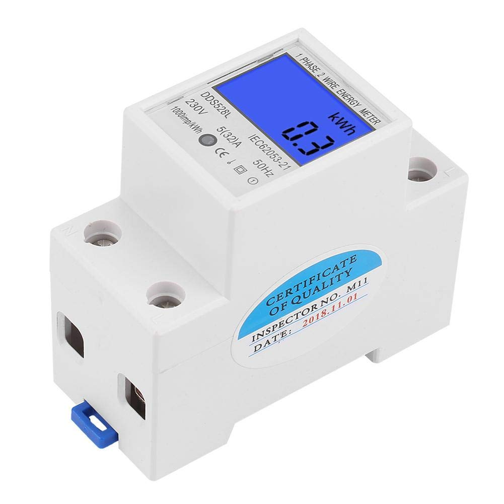 Keenso LCD 5-32A 230V 50Hz Compteur /Électronique Ecran de R/étro/éclairage Wattm/ètre Monophas/é Montage sur Rail DIN 35mm Compteur d/Énergie Num/érique DDS528L-230V