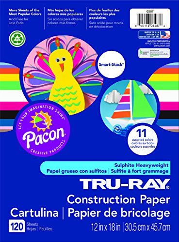 Pacon Tru-Ray Assorted Colors Smart Stack Construction Paper, 12 by 18 Inches, Pack of - Color Ray