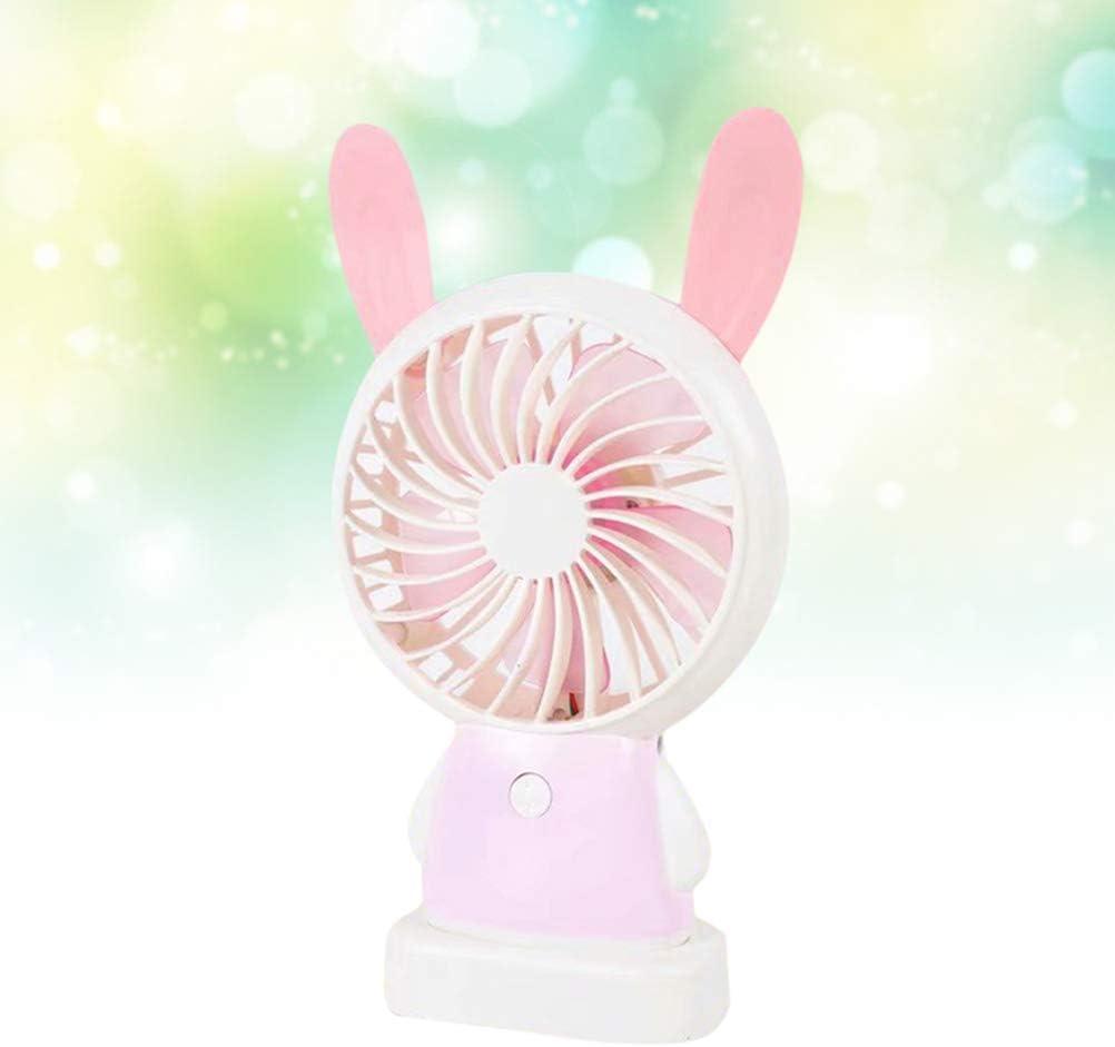 Vosarea Mini Handheld USB Fan Antlers Silent Desktop Fan 2 Speed Fan Pink