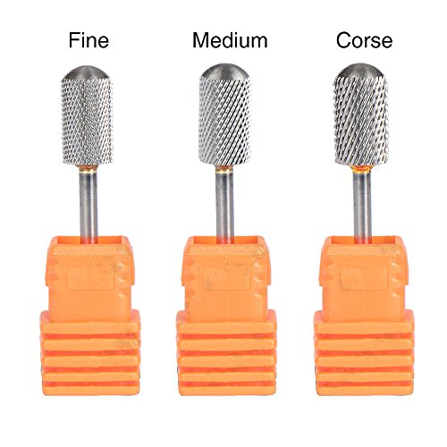 Highmoor Electric Carbide Nail Art Drill File Bit Set Coarse Medium Fine Grit Professional Manicure Drill Bits 3pcs