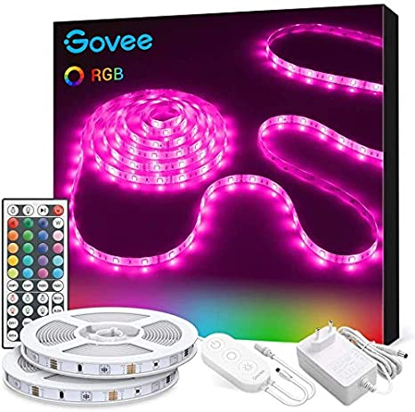 Tiras LED, Govee Luces LED RGB 10M 5050 con Control Remoto de 44 Botones y Caja de Control, 300 Tira LED 20 Colores 8 Modos de Brillo y 6 opciones DIY para la Habitación, Dormitorio, Techo, 12V