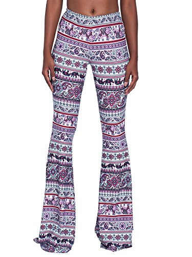 Govc Women Casual Print Stretchy Bell Bottom Flare Palazzo Skinny Pants High Waist Trousers(Purple,M)