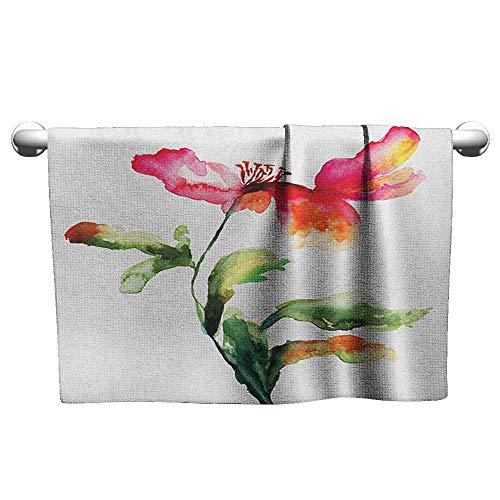 Dry Towel at The Beach W24 x L8 Watercolor Flower,Shaded Single Poppy Flowering Plant Muse Nature Earth Divine Grace, Red Green White More Durable ()