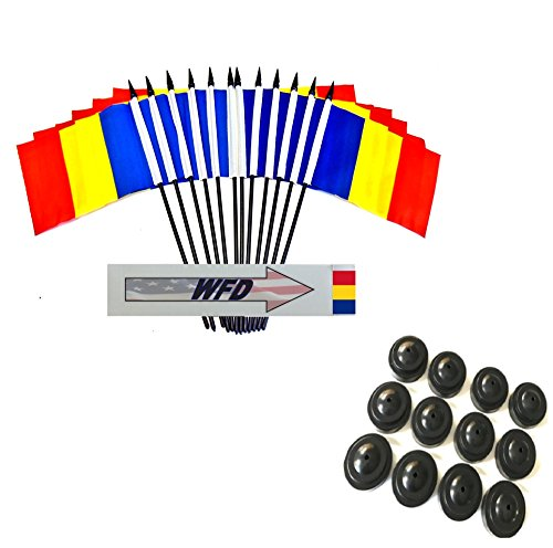 Pack of 12 4″x6″ Romania Polyester Miniature Office Desk & Little Table Flags, 1 Dozen 4″x 6″ Romanian Small Mini Handheld Waving Stick Flags with 12 Flag Bases (Flags with Stands) Review