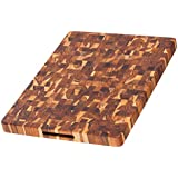 Teak Butcher Block - Rectangle Cutting Board With Hand Grip ( 20 x 15 x 1.5 in.) - By Teakhaus