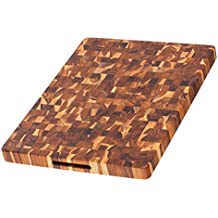 Teak Cutting Board - Rectangle Butcher Block With Hand Grip ( 20 x 15 x 1.5 in.) - By Teakhaus