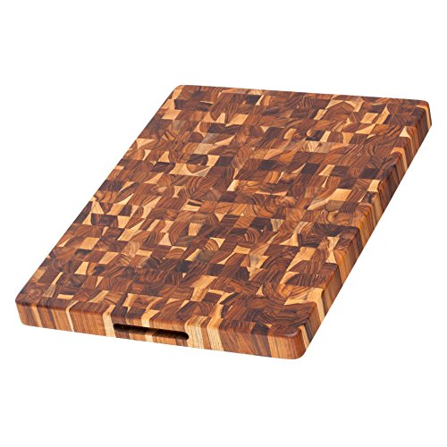 - Teak Cutting Board - Rectangle Butcher Block With Hand Grip (20 x 15 x 1.5 in.) - By Teakhaus