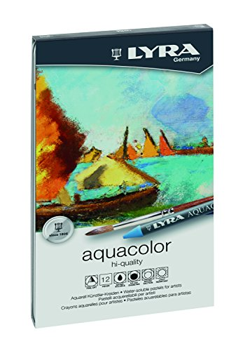 LYRA Aqua Color Water-Soluble Wax Crayons, Set of 12, Assorted Colors (5611120) (Aqua Crayon)