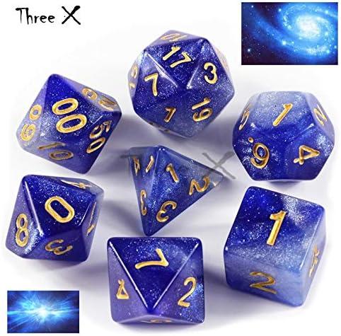 Creative Universe Galaxy Dice Set of D4 D20 Glitter DnD 6 Colors