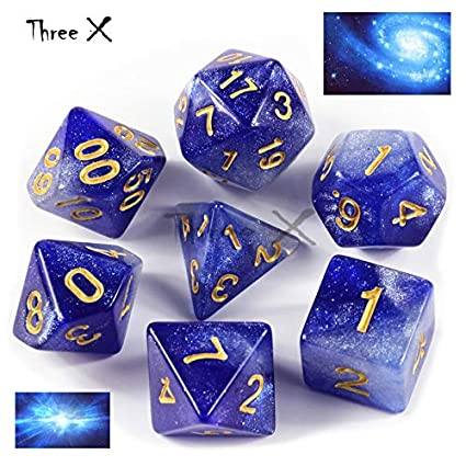 6 Color Creative Universe Galaxy Dice Set of D4-D20 with Mysterious Royal Glitter Powder Amazing Effect for DND RPG Blue