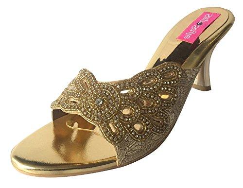 Style n Step-Sandalo da sera, da donna, con ricamo a mano KHUSSA JUTTI