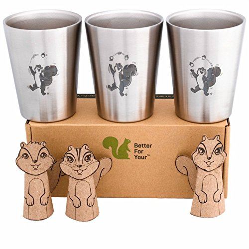 Better For Your - Kids Toddler Stainless Steel Double Wall Tumbler Cups 8oz-250ml - Set of 3 - Juggling Squirrel and Numbers 1-2-3