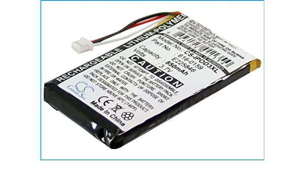 Replacement Battery for Apple 616-0159 E225846 iPod 10GB M8976LL A iPod 15GB M9460LL A iPod 20GB M9244LL A iPod 30GB M8948LL A iPod 3th Generation iPod 40GB M9245LL A