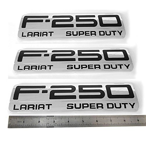 3x OEM F-250 Lariat Super Duty Side Fender Emblems Badge 3D logo Replacement for F250 Lariat Pickup Chrome ()