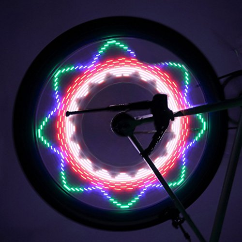 Bicycle Rim Lights Auto Open and Close Ultra Bright LED ICOCO Waterproof 32 LED Bike Wheel Light, Bike Spoke Light, Light String for MTB Wheel Tire