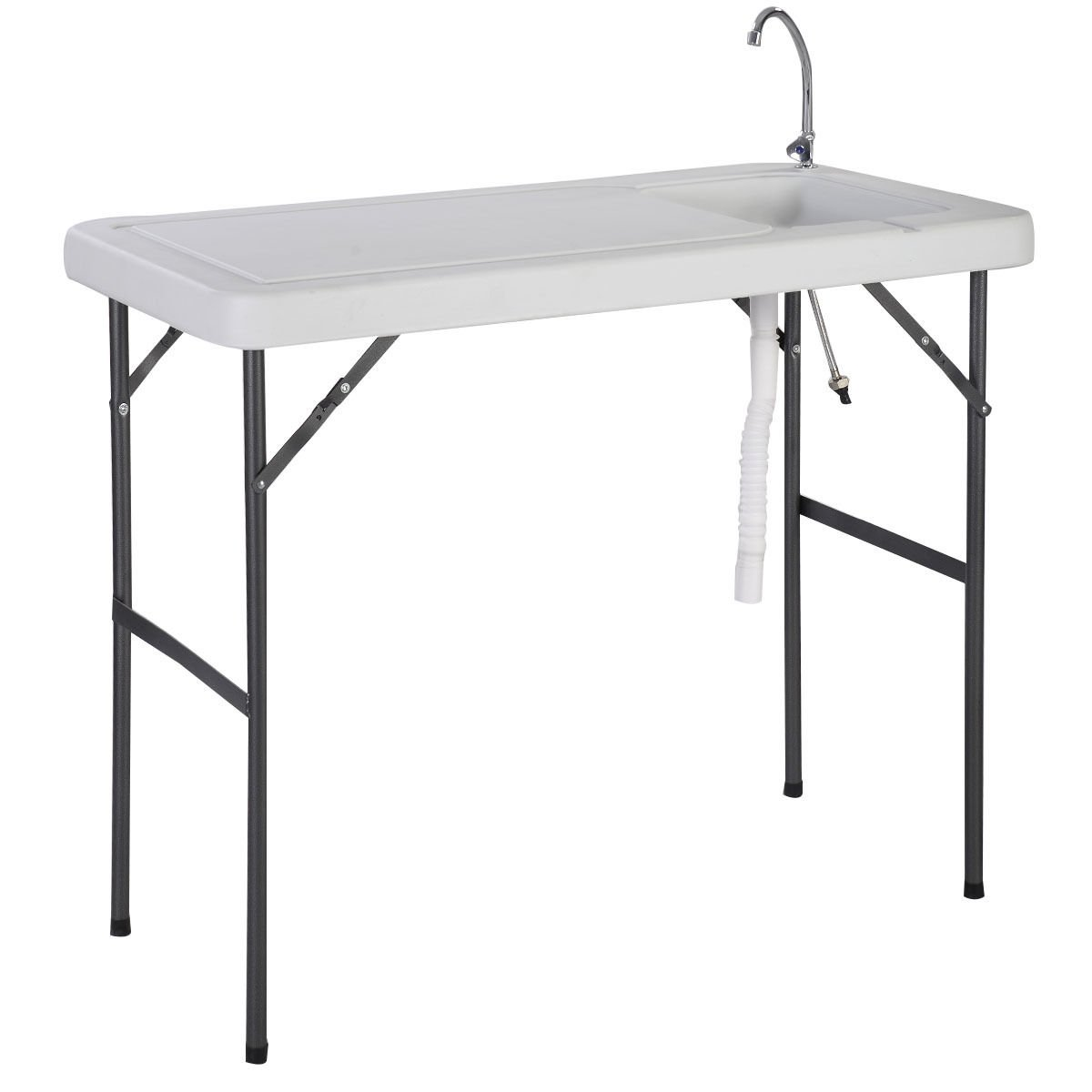 GHP 45''x23.6''x37.4'' 200Lbs Capacity Polyethylene Tabletop Folding Fish Cleaning Table