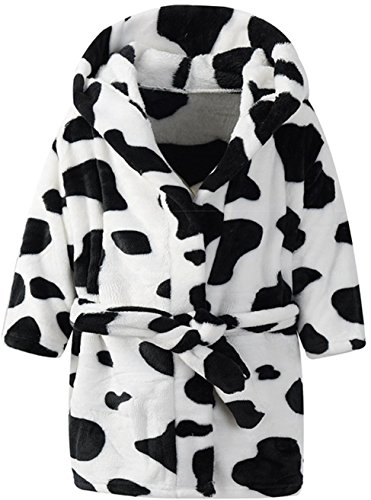 Unisex Kids Hooded Cow Robe Fleece Bathrobe Children's Pajamas Sleepwear (7-8T, Color -